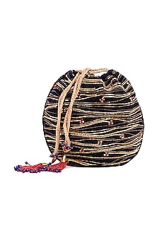 Navy Blue Embroidered Circular Potli Bag by The Garnish Company-POPULAR PRODUCTS AT STORE