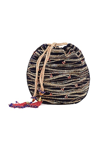 Navy Blue Embroidered Circular Potli Bag by The Garnish Company