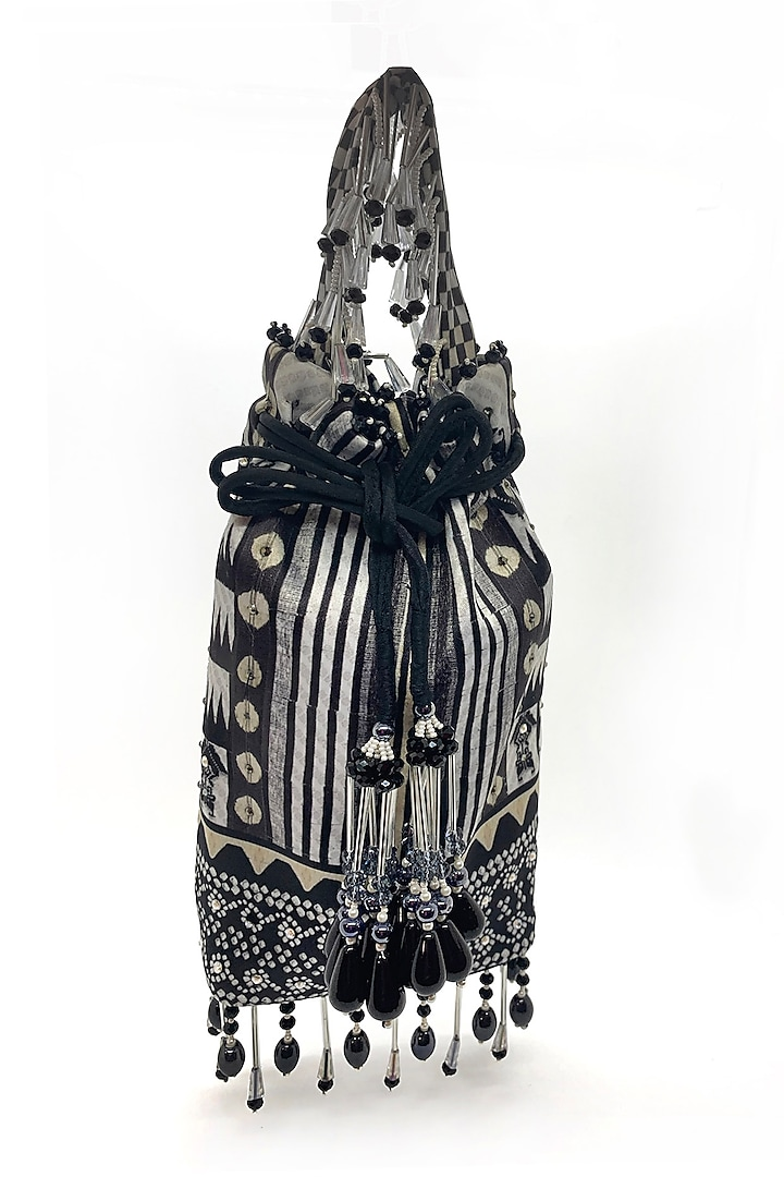 Black & White Embroidered Bag by The Garnish Company