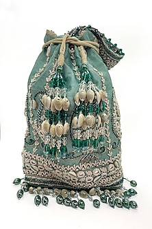 Mint Embroidered Rectangular Bag by The Garnish Company-POPULAR PRODUCTS AT STORE