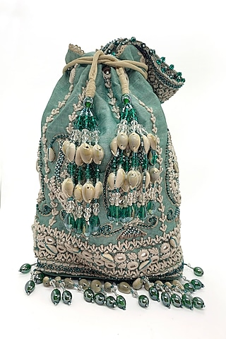 Mint Embroidered Rectangular Bag by The Garnish Company