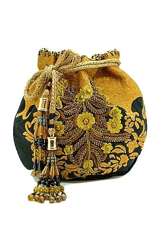 Black Embroidered Circular Potli Bag by The Garnish Company