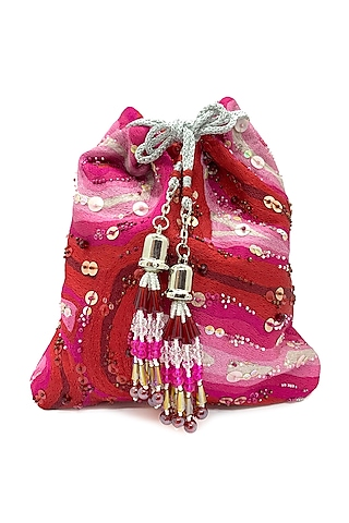 Red & Pink Embroidered Bag by The Garnish Company