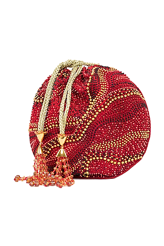 Red Embroidered Circular Potli Bag by The Garnish Company