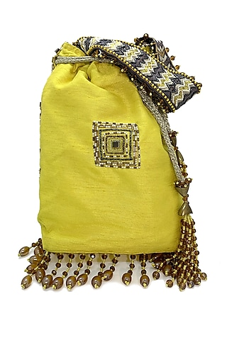 Yellow Embroidered Rectangular Bag by The Garnish Company