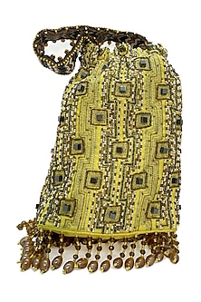 Yellow Embroidered Rectangular Bag by The Garnish Company-POPULAR PRODUCTS AT STORE