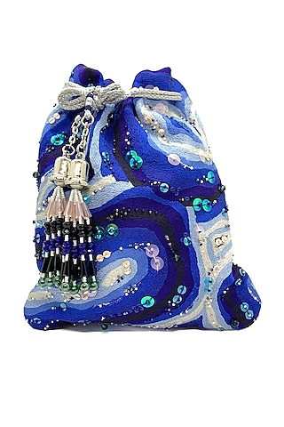 Blue & White Embroidered Bag by The Garnish Company