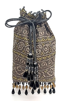 Taupe Printed & Embroidered Bag by The Garnish Company-POPULAR PRODUCTS AT STORE