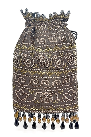 Taupe Printed & Embroidered Bag by The Garnish Company