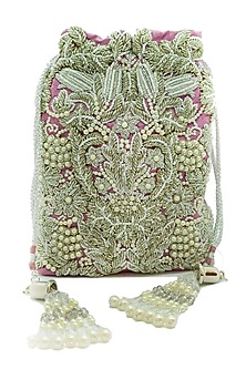 Silver Embroidered Rectangular Potli Bag by The Garnish Company-POPULAR PRODUCTS AT STORE