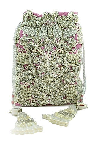 Silver Embroidered Rectangular Potli Bag by The Garnish Company