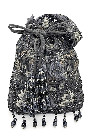Black Embroidered Rectangular Bag by The Garnish Company
