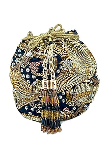 Black Circular Potli Bag With Bead Embroidery by The Garnish Company-POPULAR PRODUCTS AT STORE