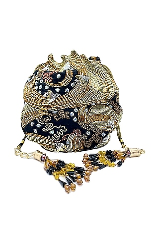 Black Circular Potli Bag With Bead Embroidery by The Garnish Company