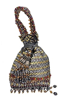 Black Sequins Embroidered Rectangular Bag by The Garnish Company-POPULAR PRODUCTS AT STORE