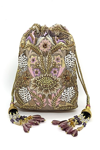 Taupe Embroidered Rectangular Potli Bag by The Garnish Company