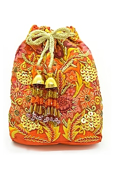 Orange Embroidered Rectangular Potli Bag by The Garnish Company-POPULAR PRODUCTS AT STORE