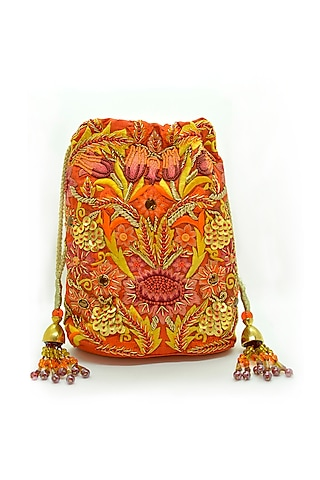 Orange Embroidered Rectangular Potli Bag by The Garnish Company