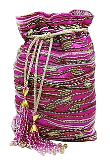 Fuchsia Embroidered Rectangular Potli Bag by The Garnish Company-POPULAR PRODUCTS AT STORE