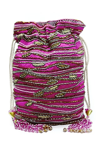 Fuchsia Embroidered Rectangular Potli Bag by The Garnish Company