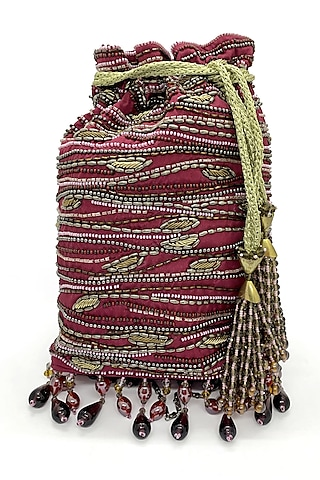Maroon Embroidered Rectangular Bag by The Garnish Company