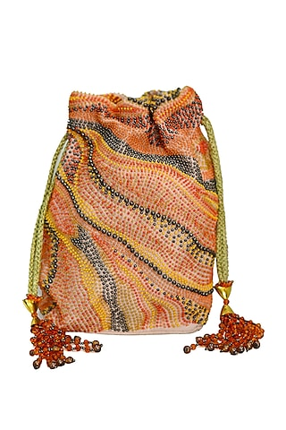 Peach Embroidered Rectangular Potli Bag by The Garnish Company