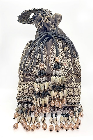Charcoal Embroidered Bag by The Garnish Company