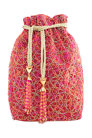 Red Embroidered Rectangular Potli Bag by The Garnish Company