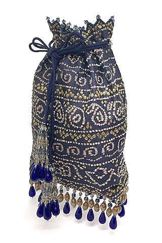 Blue Printed & Embroidered Bag by The Garnish Company