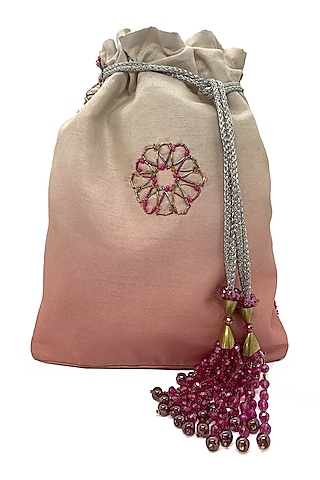Blush Cream Embroidered Potli Bag by The Garnish Company