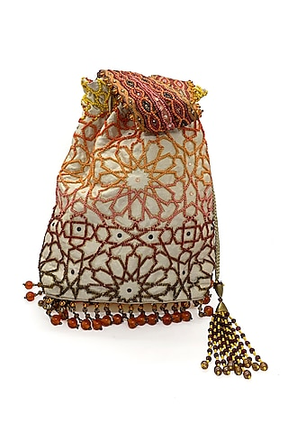Cream Embroidered Rectangular Bag by The Garnish Company