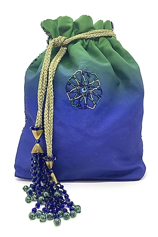 Indigo & Green Embroidered Potli Bag by The Garnish Company