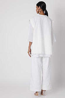 White Pleated Top With Lining by The Grey Heron