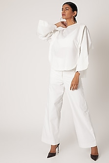White Pleated Top With Frills by The Grey Heron