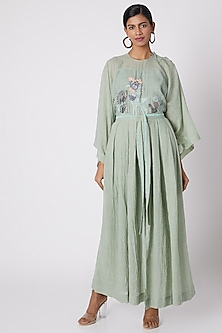 Mint Green Embroidered & Pleated Pants by The Grey Heron