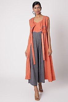 Orange Jaal Embroidered Jacket by The Grey Heron