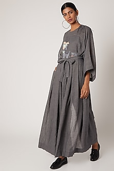Grey Embroidered Pleated Pants by The Grey Heron