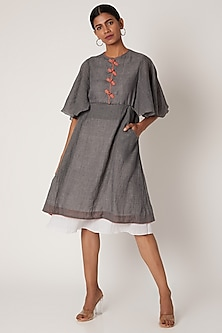 Grey & White Dress With Flared Sleeves by The Grey Heron