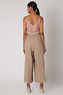 Beige & Pink Embroidered Jumpsuit With Belt by The Grey Heron