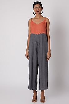 Grey & Orange Embroidered Jumpsuit With Belt by The Grey Heron