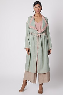 Mint Green Jaal Embroidered Jacket by The Grey Heron