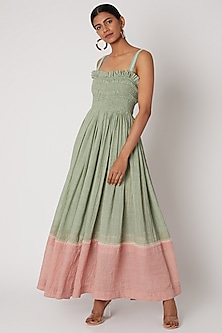 Mint Green Embroidered Dress With Ruching by The Grey Heron