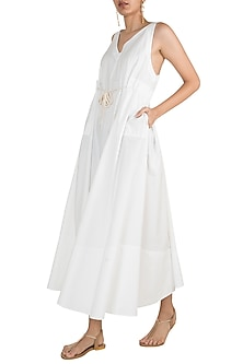 White Cotton Dress With Belt by The Grey Heron