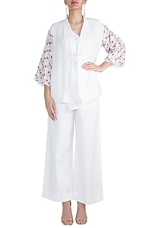 White Embroidered Shirt With Jacket by The Grey Heron