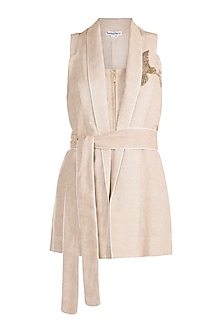 Beige Embroidered Jacket by The Grey Heron
