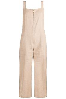 Beige Cotton Jute Jumpsuit by The Grey Heron