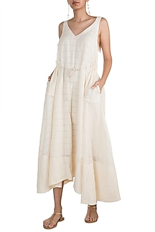 Beige Striped Dress With Belt by The Grey Heron