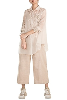 Light Peach Embroidered Shirt by The Grey Heron