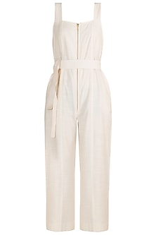 Beige Cotton Jumpsuit With Belt by The Grey Heron