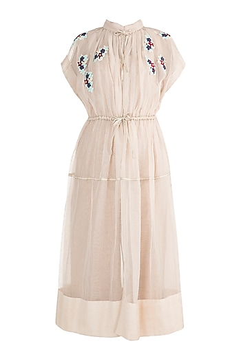 Light Peach Embroidered Cape With Tie-Up by The Grey Heron